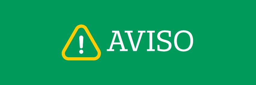 Banner verde com a palavra aviso