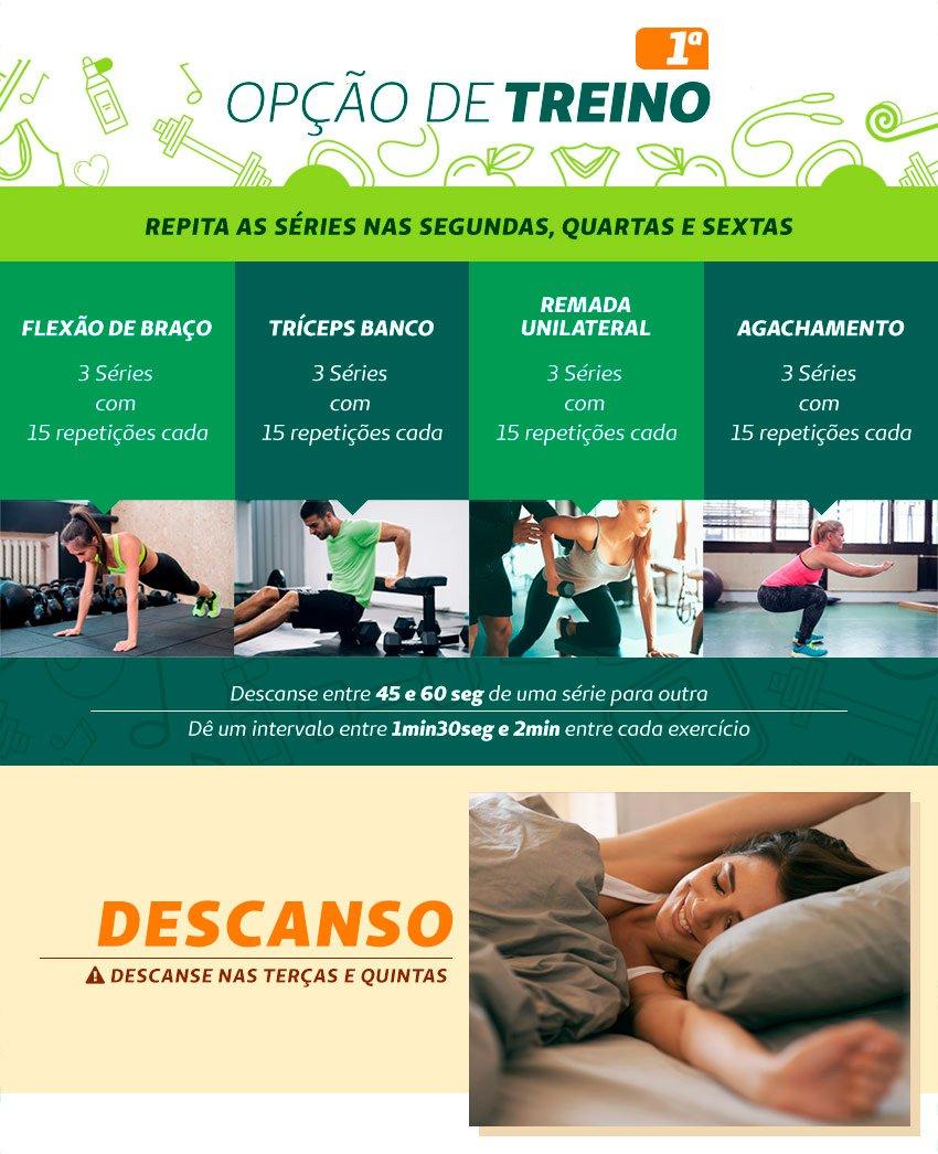 Infográfico com a primeira opção de treino de musculação em casa