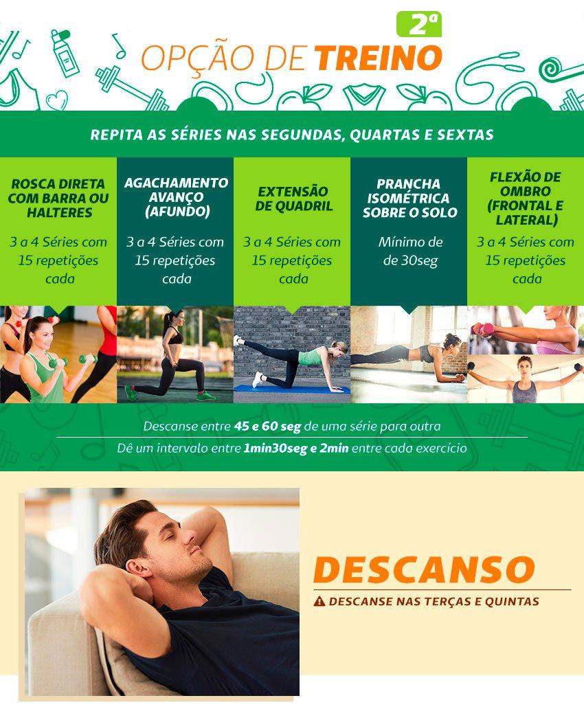 Infográfico com a segunda opção de treino de musculação em casa