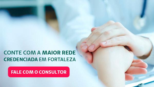 """Banner com o texto """"Conte com a maior rede credenciada em Fortaleza"""" e o botão """"Fale com o consultor""""."""