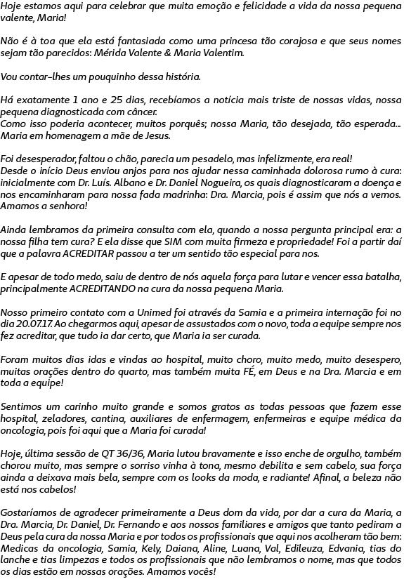 Carta realizada pela mãe de Maria Alice agradecendo aos colaboradores do Hospital Regional Unimed