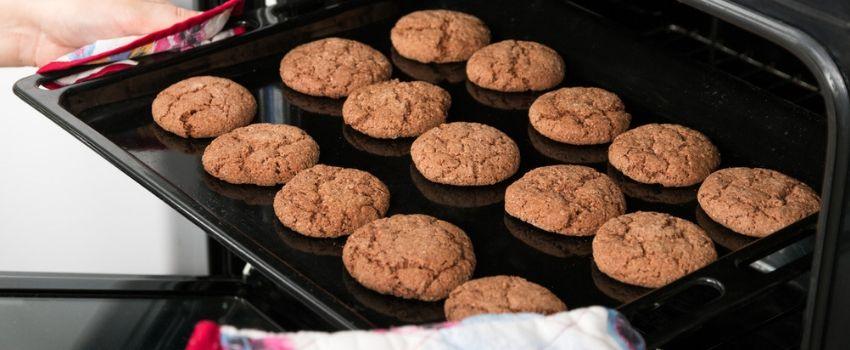 Imagem ilustrativa de biscoitos integrais saindo do forno.