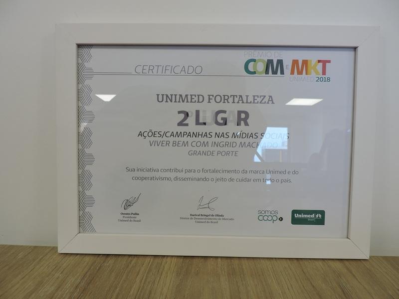 Certificado de 2º lugar na categoria Ações/Campanhas nas Mídias Sociais