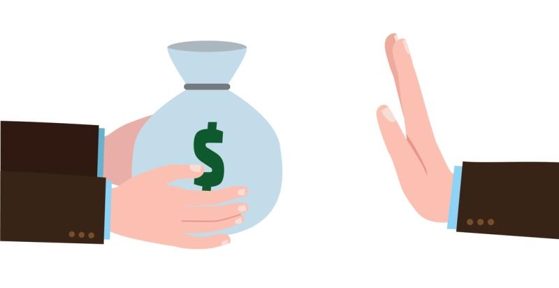 Ilustração de uma mão segurando um pacote de dinheiro e outra negando