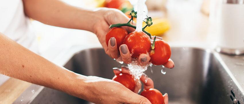 Mãos lavando tomates em água corrente: uma das formas de evitar a virose da mosca