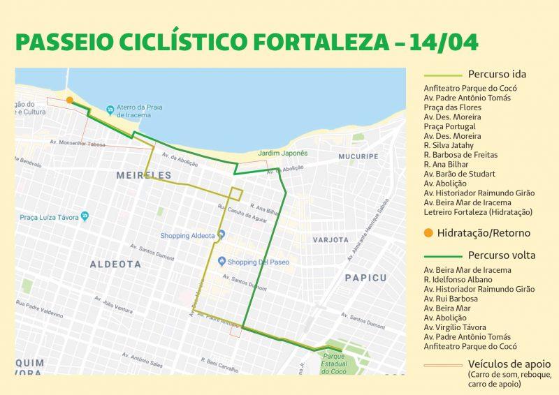 Mapa passeio ciclístico