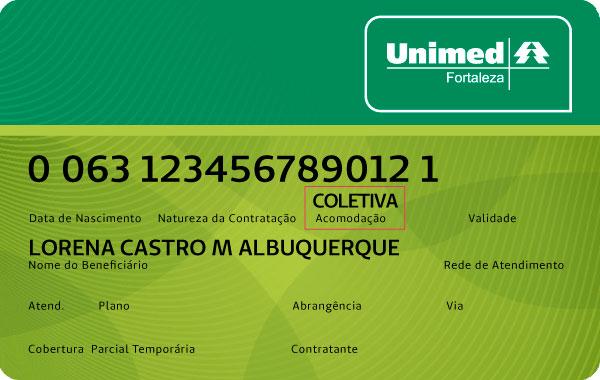 Exemplo de carteira do plano de saúde Unimed