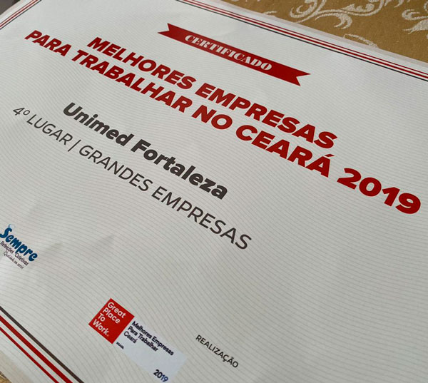 Unimed Fortaleza é eleita mais uma vez uma das melhores empresas para trabalhar no Ceará pelo Instituto GPTW