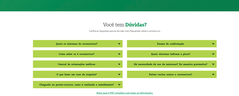 Interface do hotsite coronavírus da Unimed Fortaleza