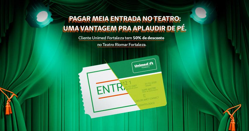 Banner parceria teatro RioMar Fortaleza e Unimed Fortaleza