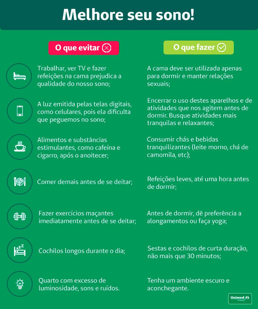 Tabela com dicas de como melhorar o seu sono, elemento importante para manter sua saúde mental durante a pandemia do coronavírus