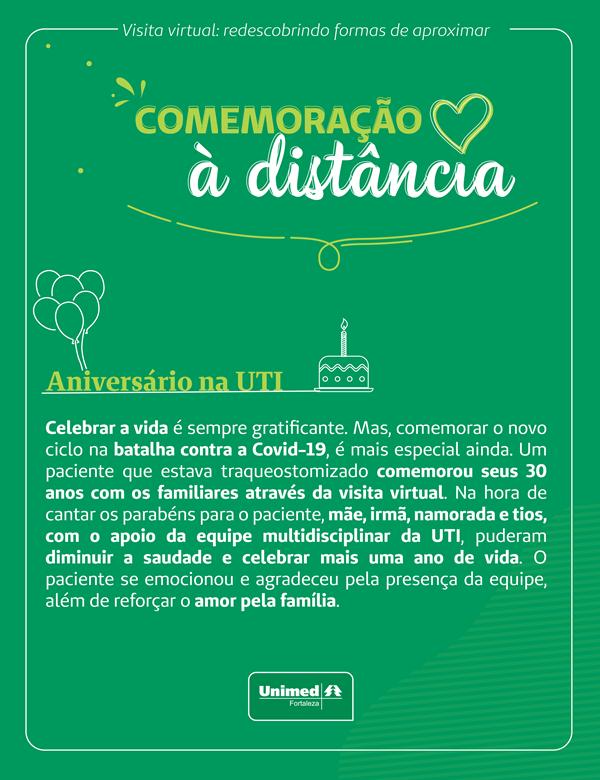 Card de Comemoração à Distância do projeto Visitas Virtuais no Hospital Unimed