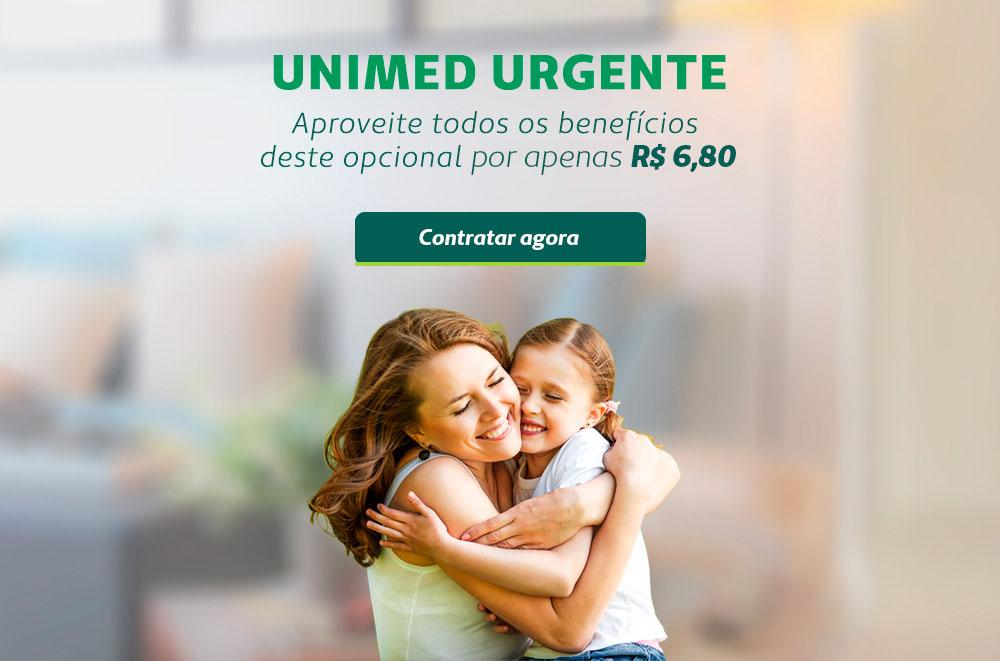 Mãe abraçando filha e o texto sobre Unimed Urgente com o valor de R$ 6,80