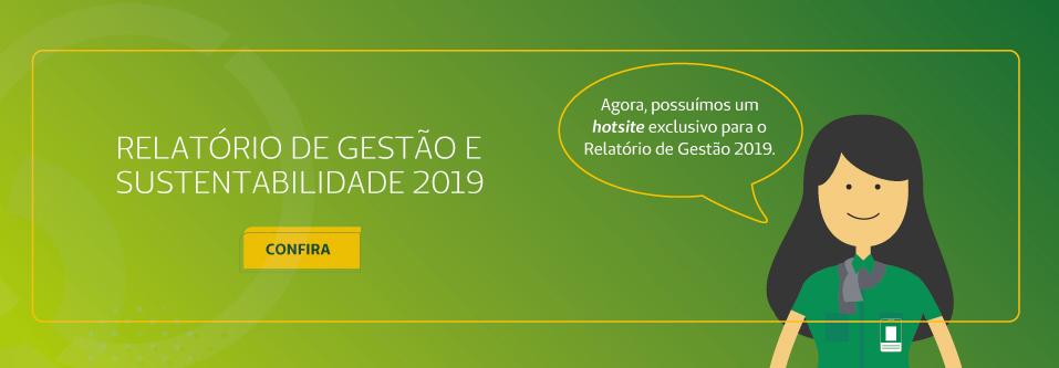 Banner sobre o Relatório de Gestão e Sustentabilidade 2019