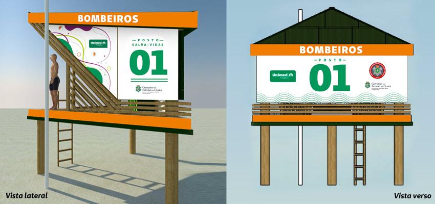Ilustração da casas salva-vidas da Unimed Fortaleza em parceria com o Corpo de Bombeiros