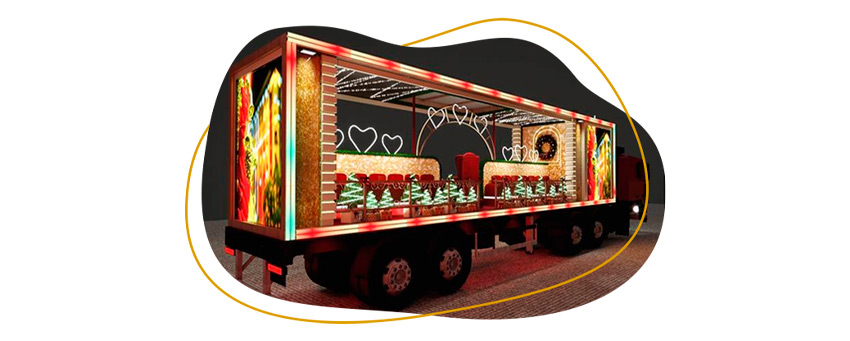 Foto do caminhão itinerante onde o coral do Ceará Natal de Luz estará