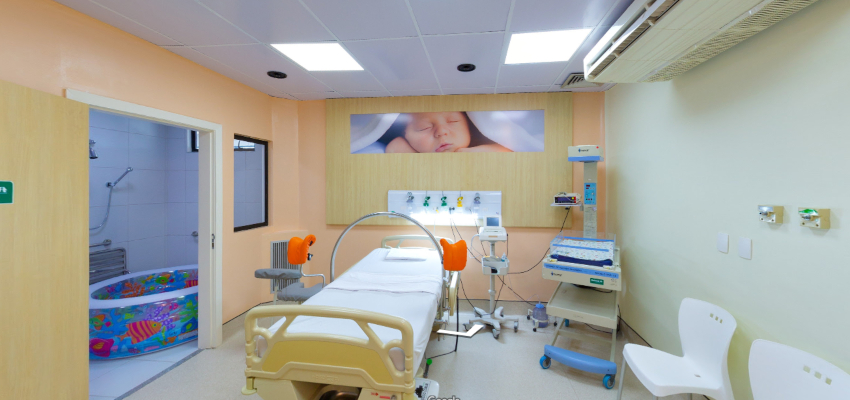 sala de parto adequado do Hospital Unimed