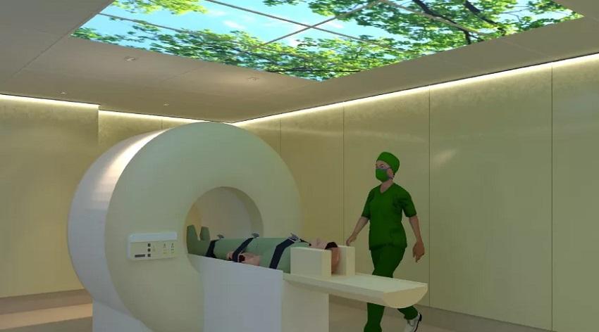 Projeção da sala do novo equipamento de ressonância magnética