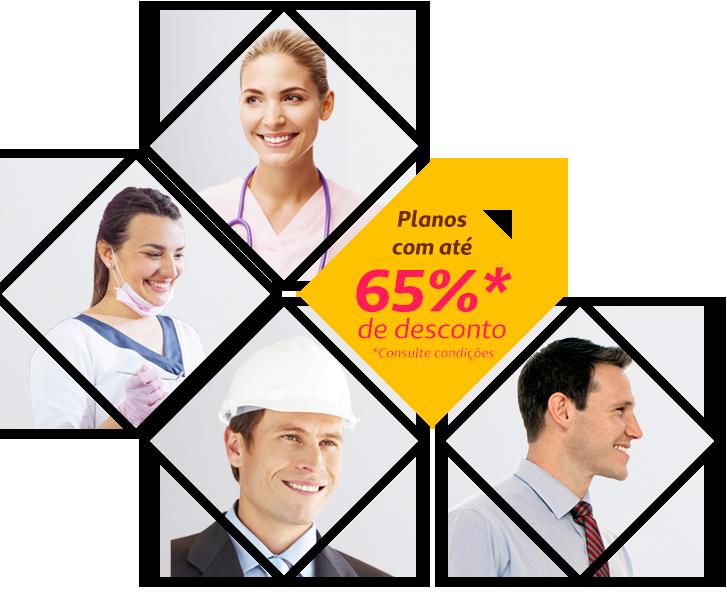 Imagem com vários profissionais e uma rmacao no centro dizendo Planos com até                             70%* de desconto, consulte condições
